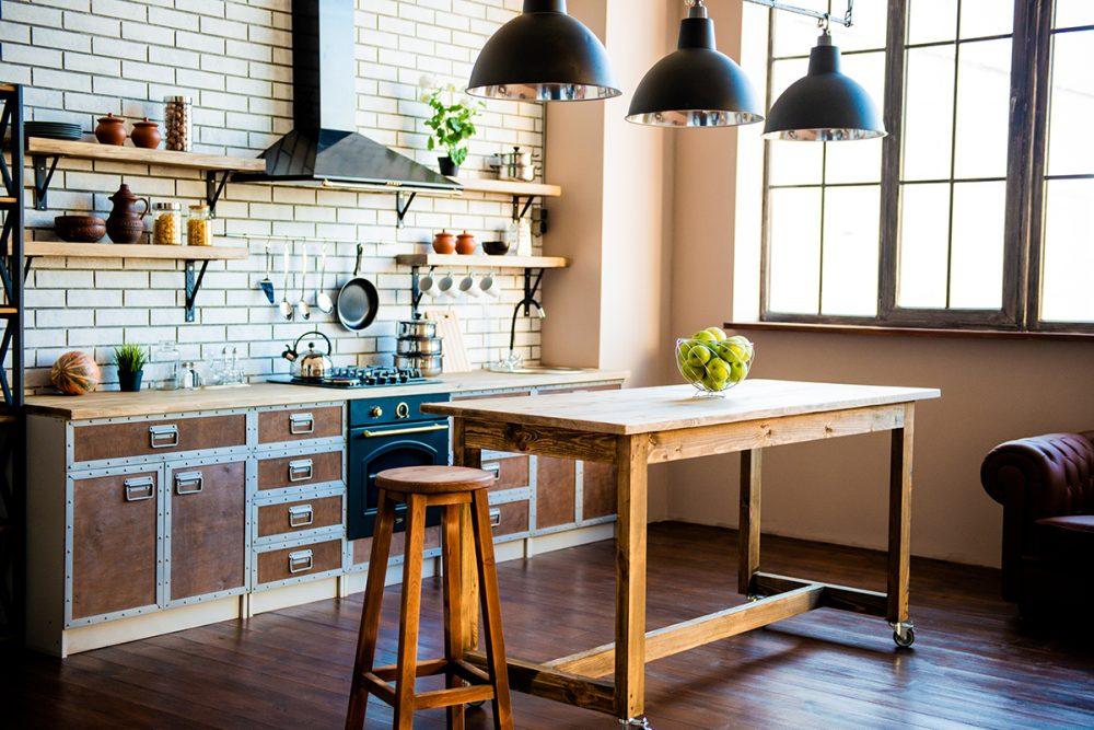 Кухня в стиле Лофт, зал Микс